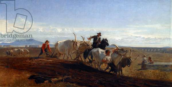Ploughing in the Campagna, 1857 (oil on canvas)