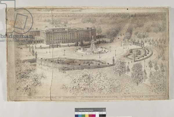 The Victoria Memorial, c.1910-14 (ink over pencil with w/c on paper)