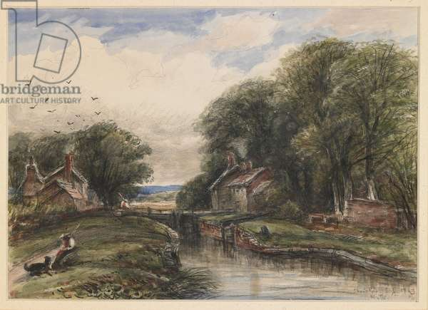 Shardlow Lock, with the Lock-keeper's Cottage, 1883 (w/c with chalks & pencil on paper)