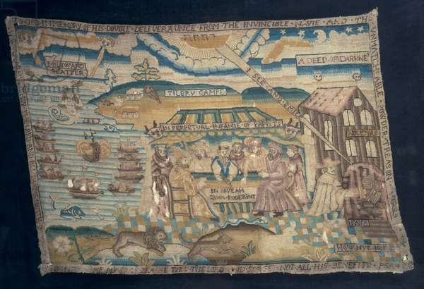 Embroidered prayer book cushion, depicting the defeat of the Armada and the Gunpowder Plot, c.1621