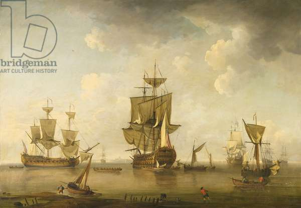 Man of War in Harbour, c.1745-55 (oil on canvas)