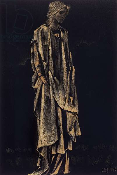 Draped Female Figure, 1896 (gold paint with black gouache on paper)