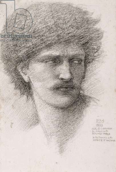Head study for 'The Summons', c.1891 (charcoal with black chalk on paper)