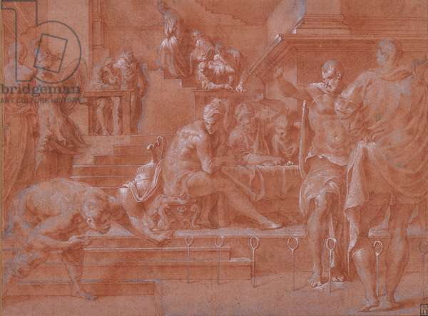 Ulysses shooting through the rings, 1555-59 (red chalk & white heightening)