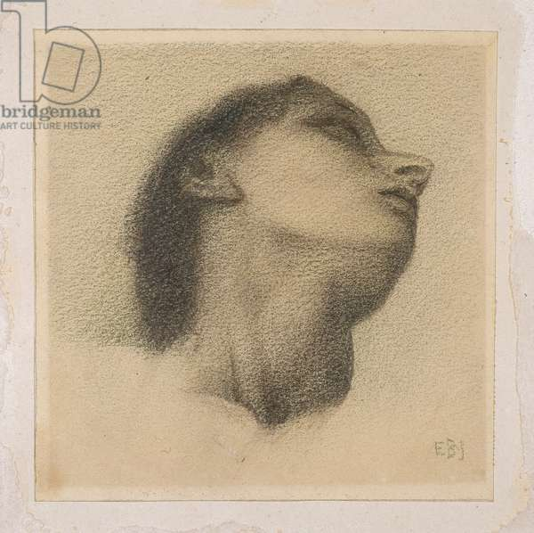 Study for the head of the king in 'The Wheel of Fortune', c.1870 (green pastel & pencil on paper)