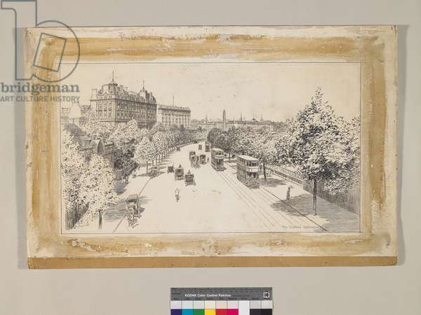 The Victoria Embankment, c.1910-14 (ink over pencil on paper)