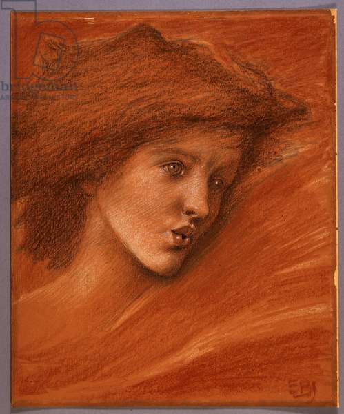 Study of a female head for Sponsa de Libano, c.1891 (coloured chalks & w/c on salmon-pink paper)