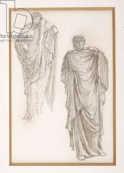 Study of a draped Medusa, for The Finding of Medusa, c.1875 (pencil on paper)