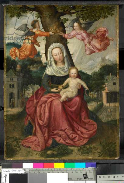 The Virgin and Child With Angels (oil on canvas)
