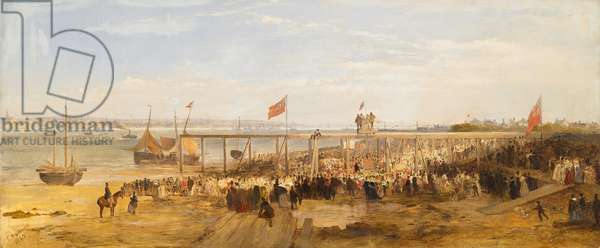 Laying the Foundation Stone of Birkenhead Docks, 1845 (oil on canvas)