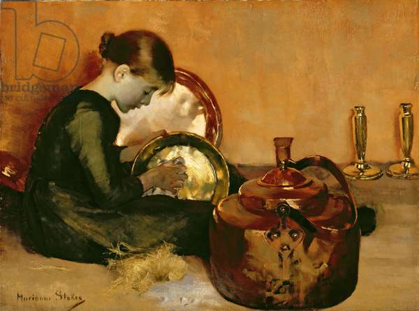 Polishing Pans (oil on canvas)