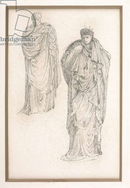 Study of a draped Medusa, for 'The Finding of Medusa', c.1875 (pencil on paper)