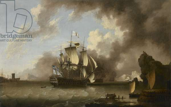 A man of war in a harbour (oil on canvas)