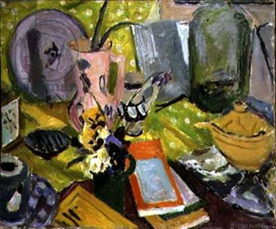 Pottery and Clock on a Table (oil on canvas)