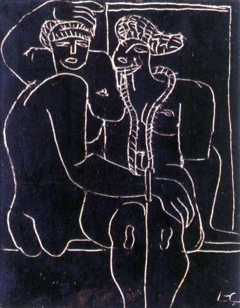 Couple (drawing in oil based ink)