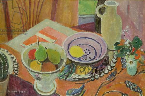 Pottery and Fruit on a Table