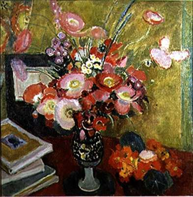 Flowers and Books on a Table (oil on canvas)