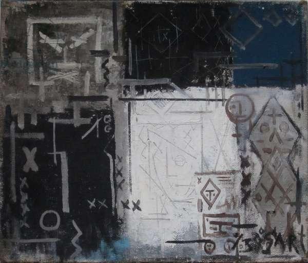 Zwart wit tekens, 1951 (mixed media on canvas)