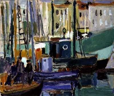 Harbour, La Rochelle (oil on paper laid down on panel)