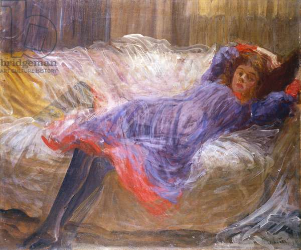 Girl Reclining on Sofa (oil on canvas)