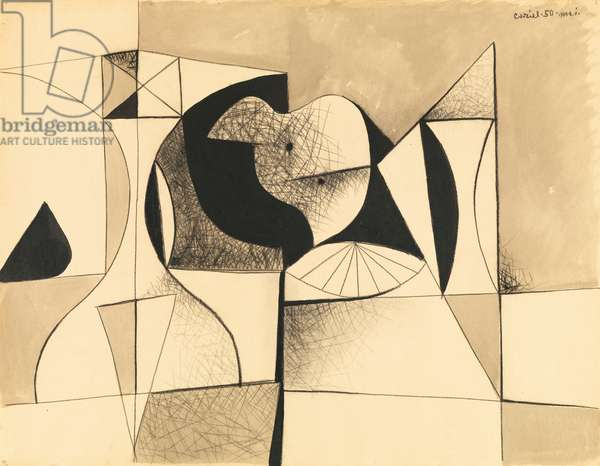 Composition, 1950 (charcoal & w/c on paper)