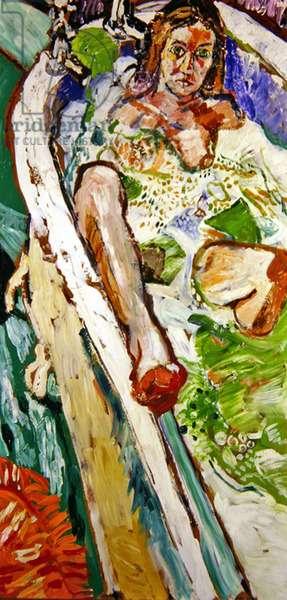 Patti in the bath at Hove (oil on canvas)
