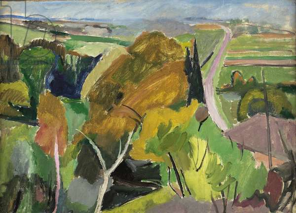 Autumn landscape, Lot et Garonne, c.1930  (oil on panel)