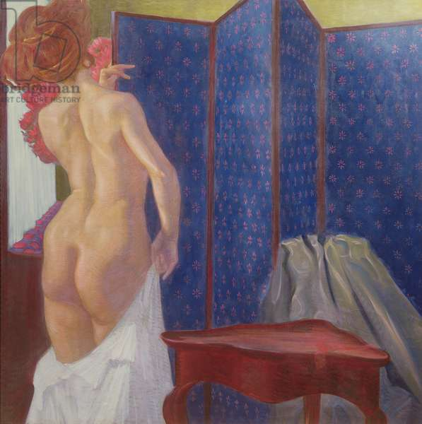 Female Nude by a Screen