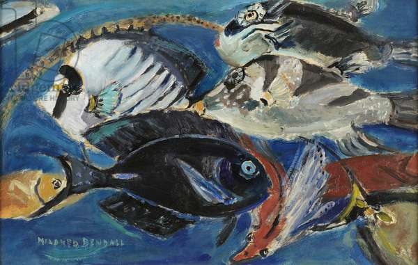 Poissons, c.1950 (oil on paper laid on panel)
