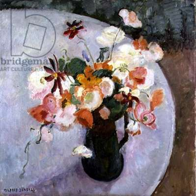 Bouquet of Flowers on a Round Table (oil on canvas)