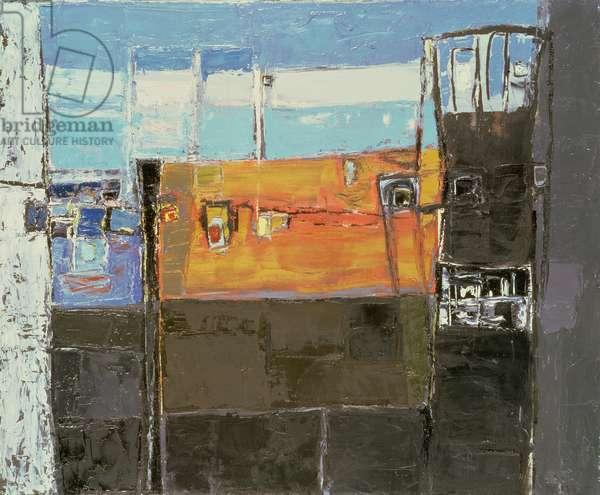 Balcony with Beach (oil on canvas)