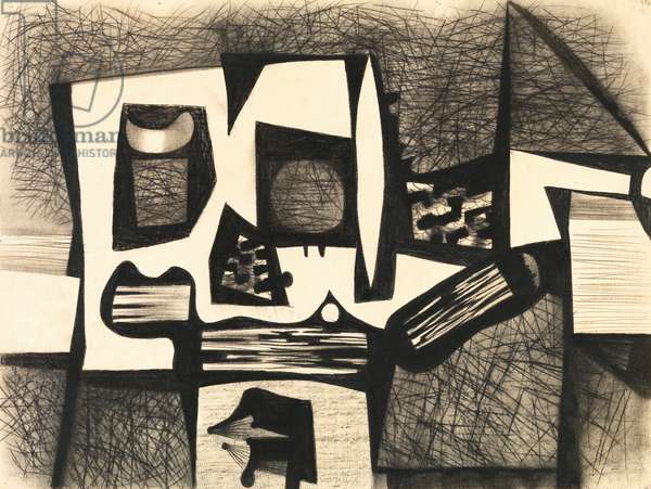 Composition, c.1950 (charcoal & w/c on paper)