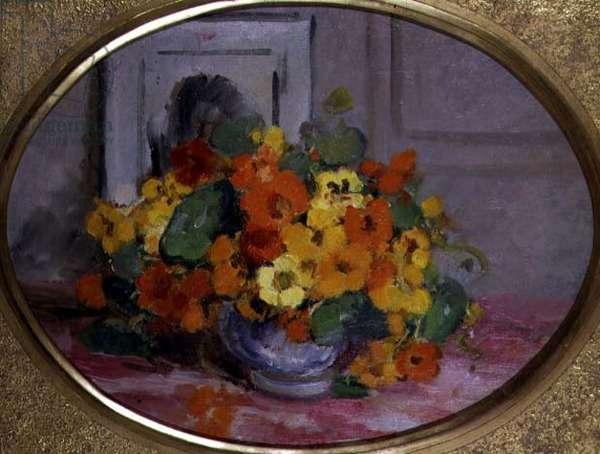 Nasturtiums (oil on canvas)