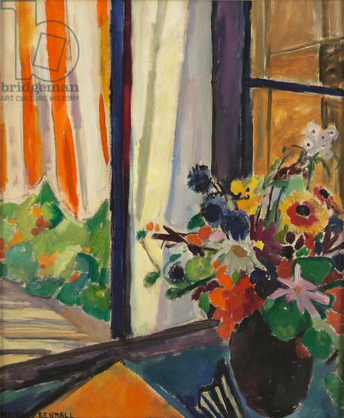 Flowers before a window, c.1930 (oil on canvas)