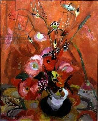 Flowers on an Orange Background (oil on canvas)