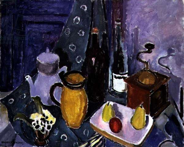 Still Life with a Coffee Mill (oil on canvas)