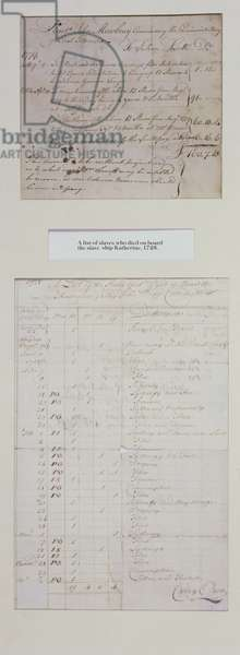 A list of slaves who died on board the slave ship 'Katherine', 1728 (pen & ink on paper)