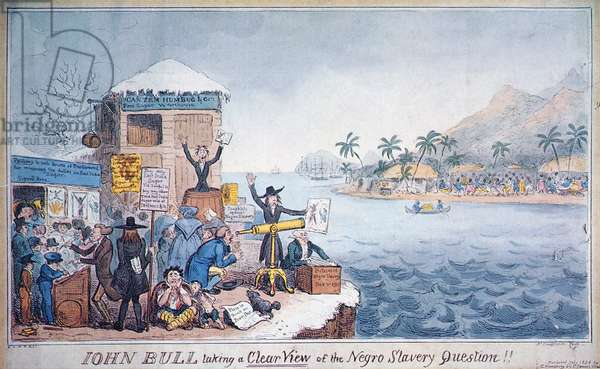 John Bull Taking a Clear View of the Negro Slavery Question, published by G. Humphrey, 1826 (colour litho)