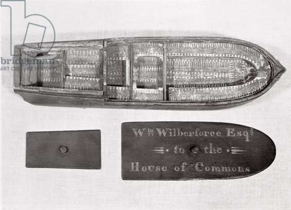 Aerial view of the model of the slave ship 'Brookes' used by William Wilberforce in the House of Commons to demonstrate conditions on the middle passage (wood) (see also 112029)