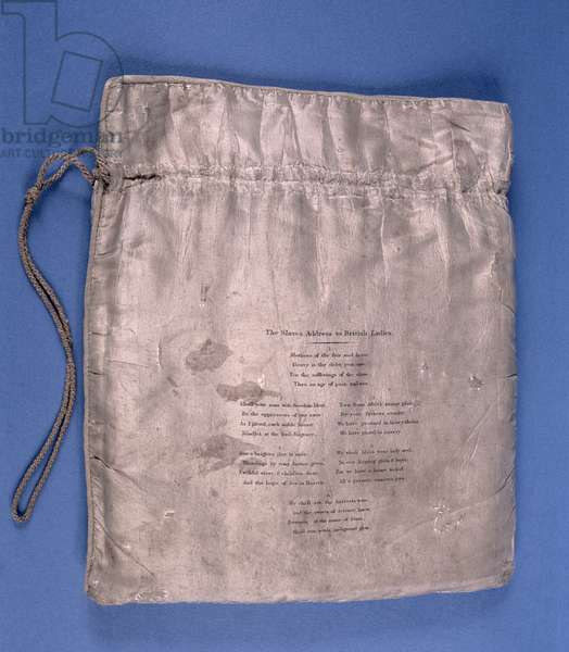 'The Slaves Address to British Ladies', poem on the reverse of an anti-slavery workbag (cloth) (see 146800 for front)