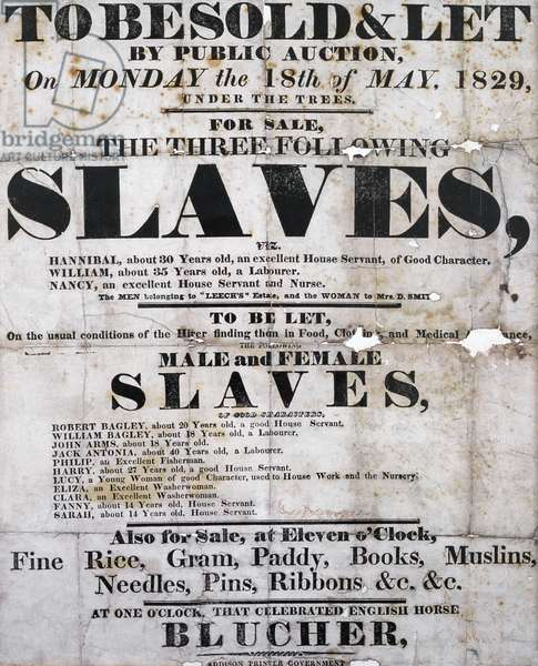 Poster advertising an auction of slaves to be sold and let, 18th May, 1829
