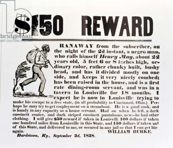Runaway slave poster from Kentucky, USA (print)