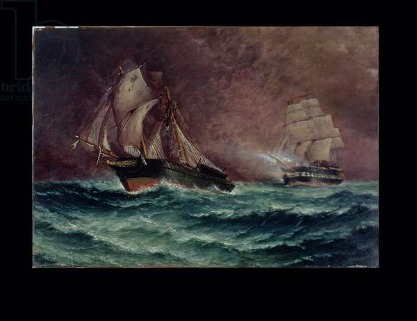 The Life of the Slaver 'Orange Grove' - Chased by an English Frigate (oil on canvas)