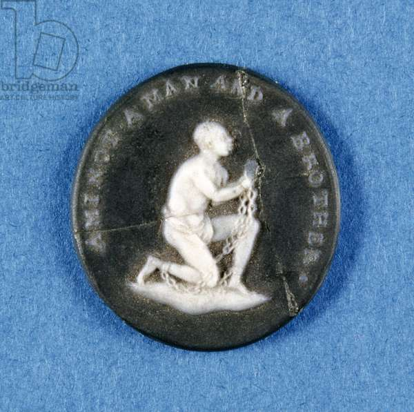 Unmounted Wedgwood medallion with a relief depicting a slave and the inscription 'Am I Not a Man and a Brother?', c.1790s