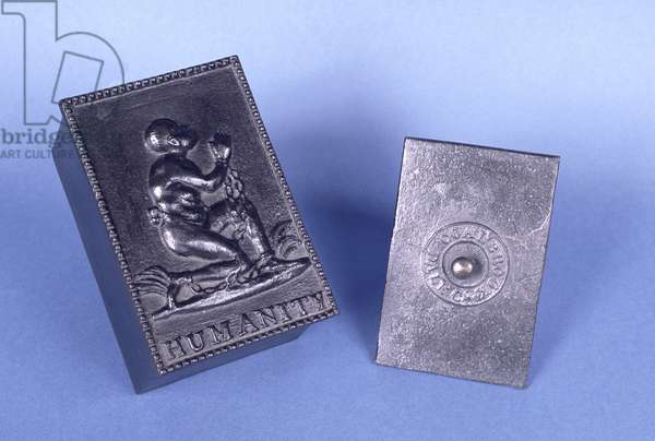 Lid of a tobacco box, depicting a kneeling slave with the inscription 'Humanity', Coalbrookdale (lead)