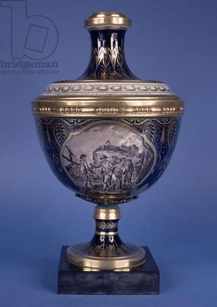Front of a vase depicting slave trading, Coalport (porcelain) (for reverse see 146806)