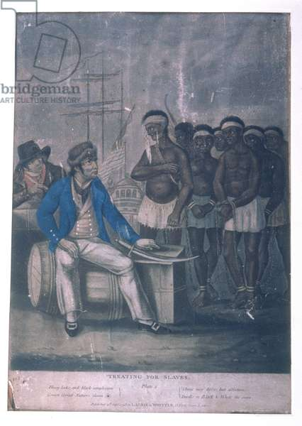 Treating for Slaves, pub. by Laurie & White, London, 1798 (coloured engraving)