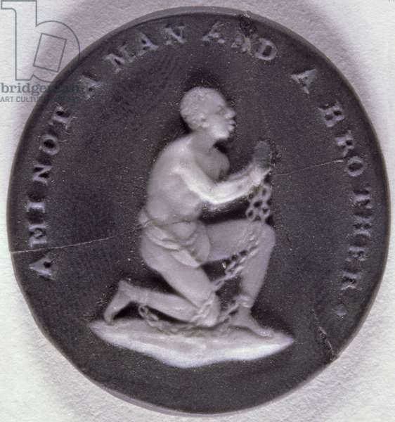 Wedgwood jasper medallion decorated with a slave in chains and inscribed with 'Am I not a Man and a Brother', 1790's (ceramic)