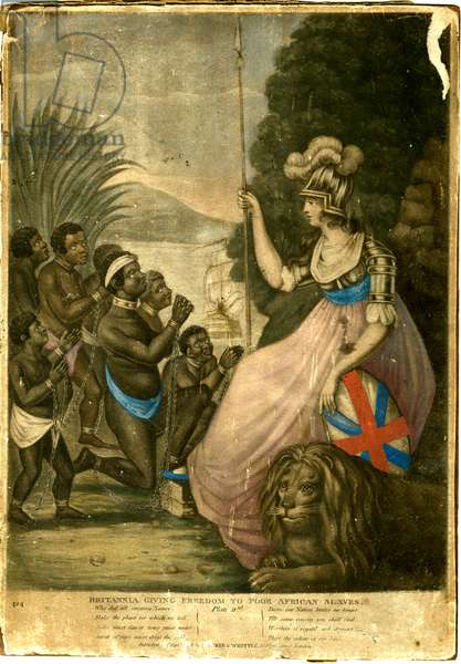Britannia Giving Freedom To Poor African Slaves, 1798 (colour litho)