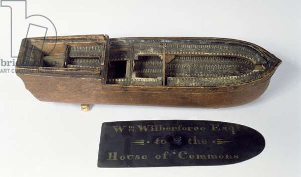 Model of the slave ship 'Brookes' used by William Wilberforce (1759-1833) in the House of Commons to demonstrate conditions on the middle passage, 18th century (wood) (see also 112029, 136291 and 135589)